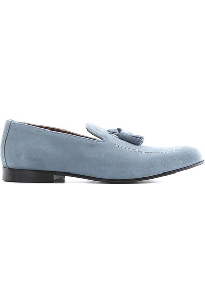 İlvi Evian Erkek Makosen Ayakkabı Mavi Süet
