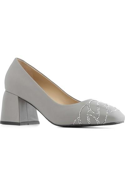 İlvi Fuzy Kadın Topuklu Ayakkabı Gri Deri