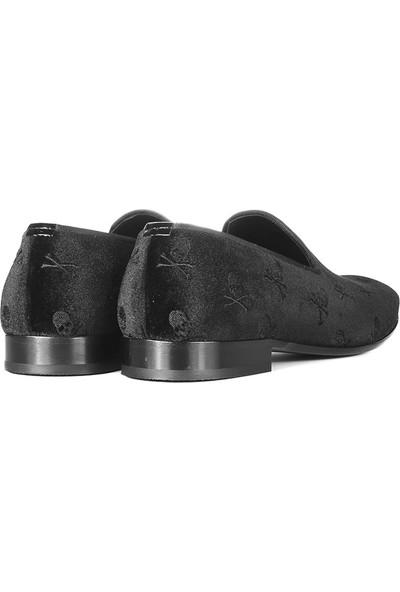 İlvi Jaklin Erkek Makosen Ayakkabı Siyah Kadife