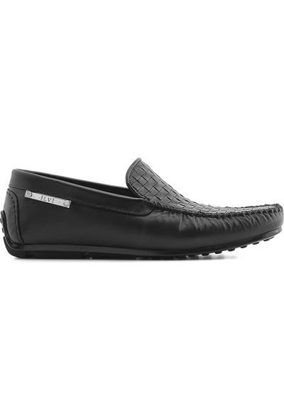 İlvi Jolanka Erkek Makosen Ayakkabı Siyah Örgü Napa