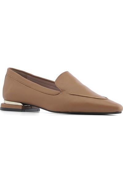 İlvi Kleris Kadın Babet Ayakkabı Taba Deri