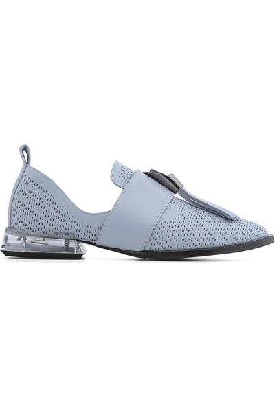 İlvi Lello Kadın Makosen Ayakkabı Mavi Deri