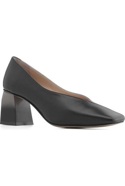 İlvi Loca Kadın Topuklu Ayakkabı Siyah Deri-Vizon Deri