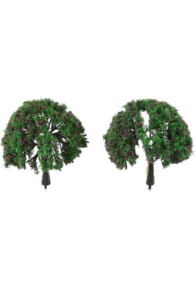 Jordania Maket Ağaç 6 cm 1/100 2'li Kırmızı Çiçekli WWA6070E