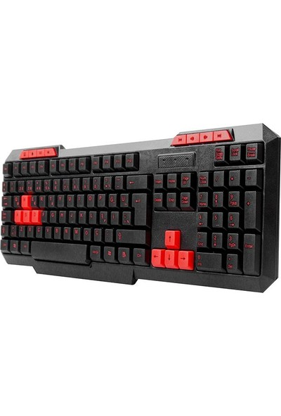 Everest KM-6825 Siyah USB Multimedia Klavye + Mouse Set Kırmızı Tuşlu
