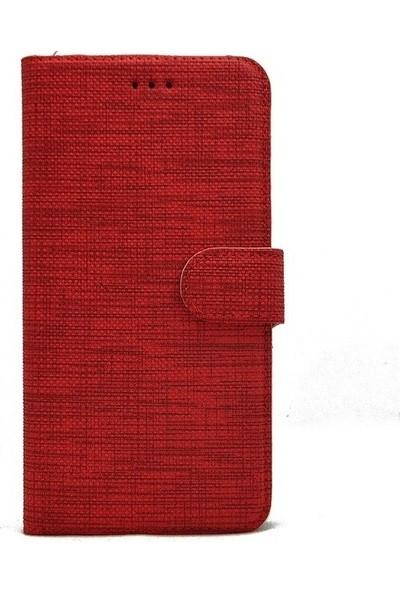 Omelo Samsung A9 2018 A920 Kılıf Spor Cüzdan Kumaş Kredi Kartı Para Bölme Standlı Kırmızı