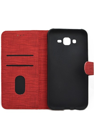 Omelo Huawei Y6 Pro 2019 Kılıf Spor Cüzdan Kumaş Kredi Kartı Para Bölmeli Standlı Kırmızı
