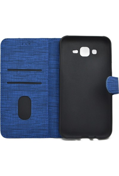 Omelo Huawei Y6 Pro 2019 Kılıf Spor Cüzdan Kumaş Kredi Kartı Para Bölmeli Standlı Mavi