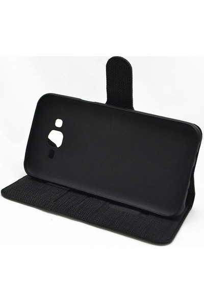Omelo Xiaomi Mi 9 SE Kılıf Spor Cüzdan Kumaş Kredi Kartı Para Bölmeli Standlı Siyah