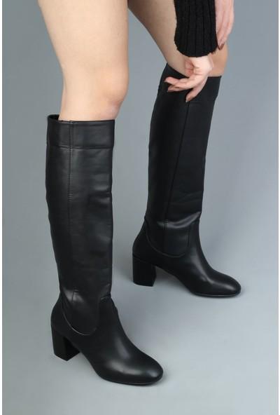 Modabuymus Dizaltı Siyah Topuklu Kadın Çizme