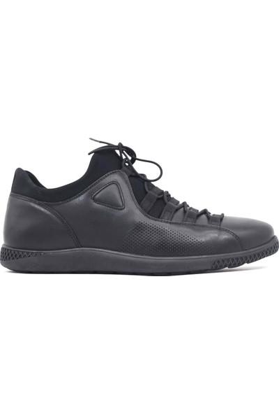 Pepita Deri Siyah Günlük Erkek Spor Ayakkabı 4459