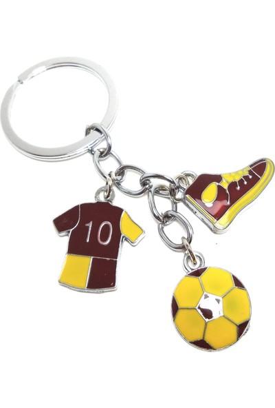 Hediye Aşkı Futbol Temalı Sarı Kırmızı Anahtarlık