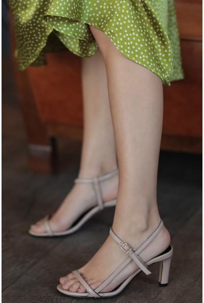 Mio Gusto Hakiki Deri Patricia Ten Kısa Topuklu Ayakkabı