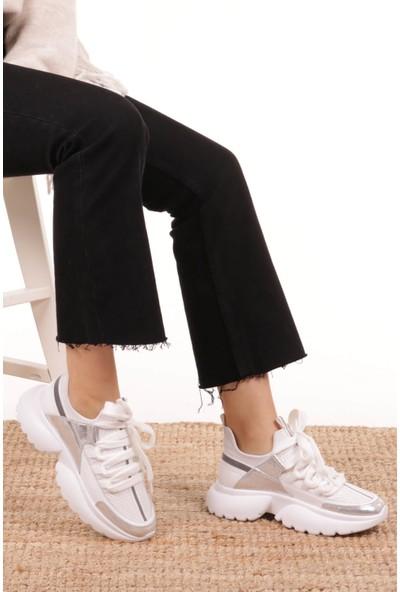 Mio Gusto Chris Hakiki Deri Beyaz Sneaker