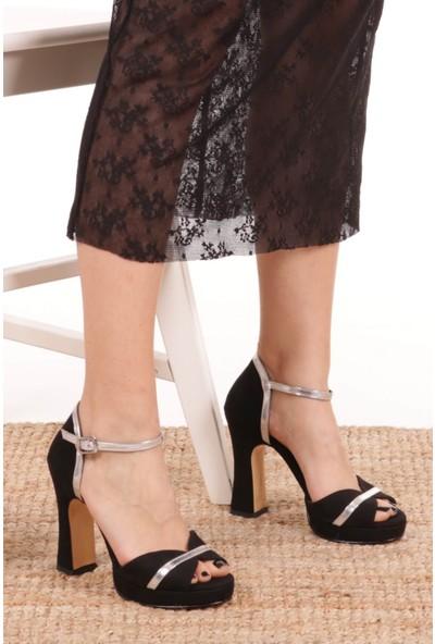Mio Gusto Selena Siyah Süet Platformlu Ayakkabı