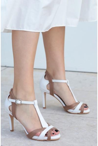 Mio Gusto Octavia Beyaz Vizon Topuklu Ayakkabı
