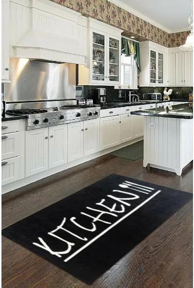 Fustat Life Siyah Beyaz Kitchen Mutfak Halısı