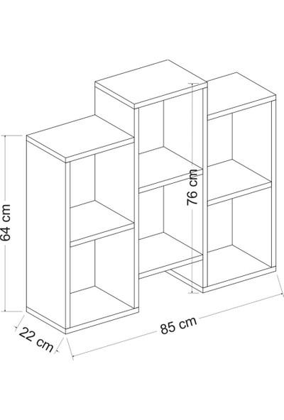 Minar Fleet Kitaplık - Duvar Rafı - Yan Sehpa - Pera Ceviz