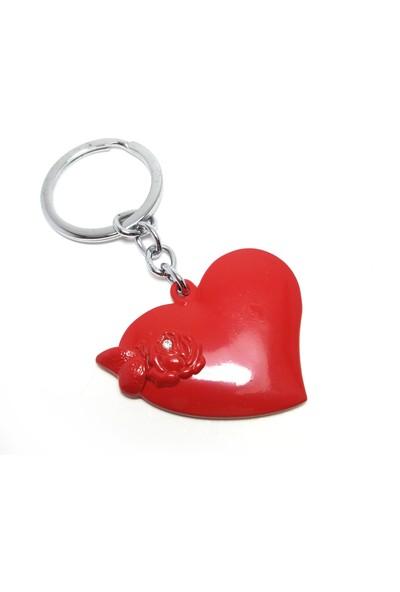 Hediye Aşkı Kırmızı Kalp Taşlı Anahtarlık
