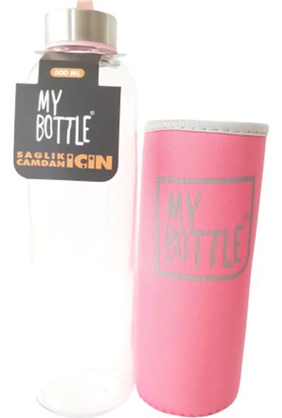 My Bottle Renkli Kılıflı Cam Matara 600 ml Pembe