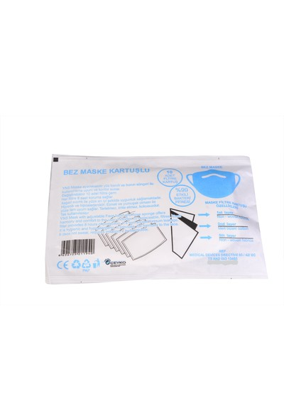Emsal Bez Maske 3 Katlı Kartuşlu 10'lu Paket