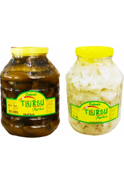 Turşu Market Çubuk Turşusu Salatalık + Lahana - 10 kg