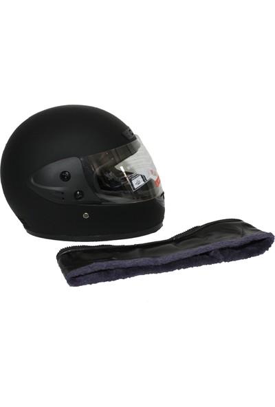 Asm Tam Kapalı Motosiklet Kaskı + Boyun Derili Mat Siyah M