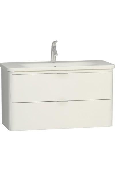VitrA Nest Trendy 56442 Çift Çekmeceli Lavabo Dolabı 100 cm Parlak Beyaz