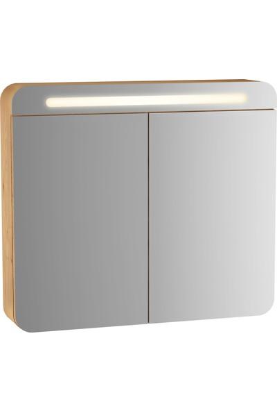 VitrA Sento 60896 Aydınlatmalı Dolaplı Ayna 80 cm Açık Meşe