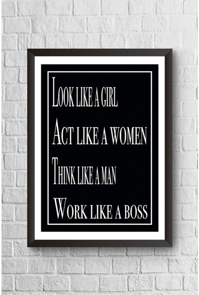Lyn Home Look Lıke A Girl Çerçeveli Poster Tablo 23,5 x 33,5 cm