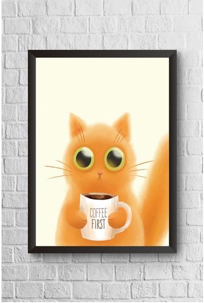 Lyn Home First Coffe Cat Çerçeveli Poster Tablo 23,5 x 33,5 cm