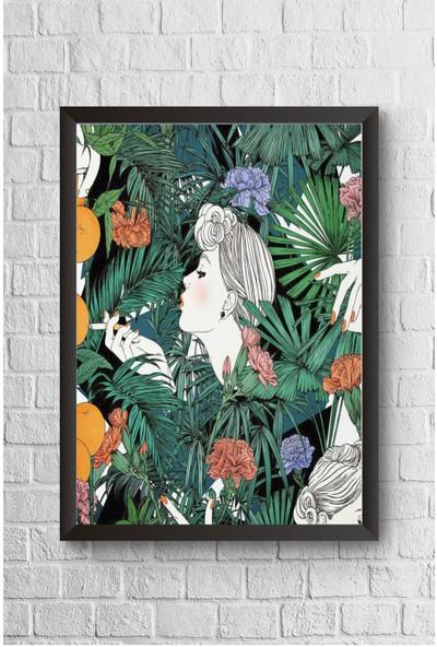 Lyn Home Tropik Silüet Çerçeveli Poster Tablo 23,5 x 33,5 cm