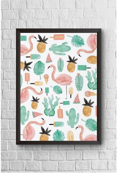 Lyn Home Flamingo Ve Ananas Çerçeveli Poster Tablo 23,5 x 33,5 cm