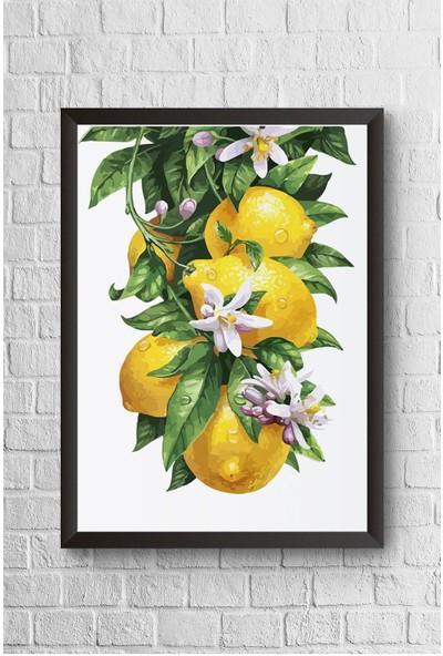 Lyn Home Salkım Limon Çerçeveli Poster Tablo 23,5 x 33,5 cm