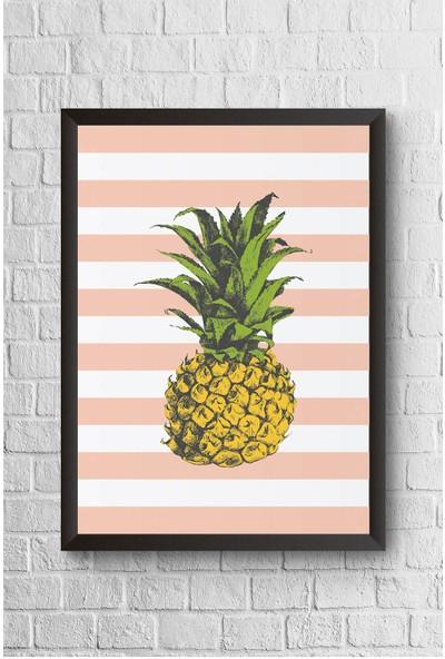 Lyn Home Pembe Çizgili Ananas Çerçeveli Poster Tablo 23,5 x 33,5 cm