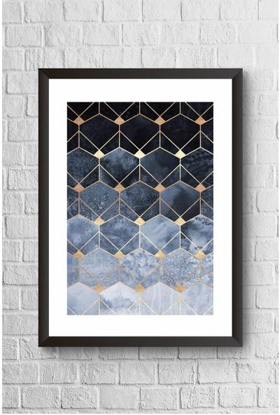Lyn Home Mavi Çokgenler Çerçeveli Poster Tablo 23,5 x 33,5 cm