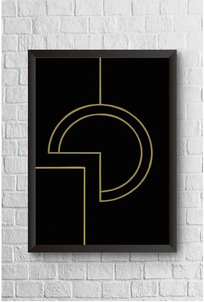 Lyn Home Siyah Gold Geo Desen Çerçeveli Poster Tablo 23,5 x 33,5 cm