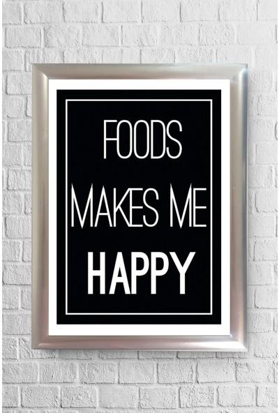Lyn Home Foods Make Me Happy Çerçeveli Poster Tablo 23,5 x 33,5 cm