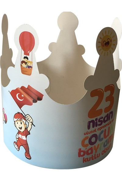 İnci Balon 23 Nisan Karton Taç 15'li
