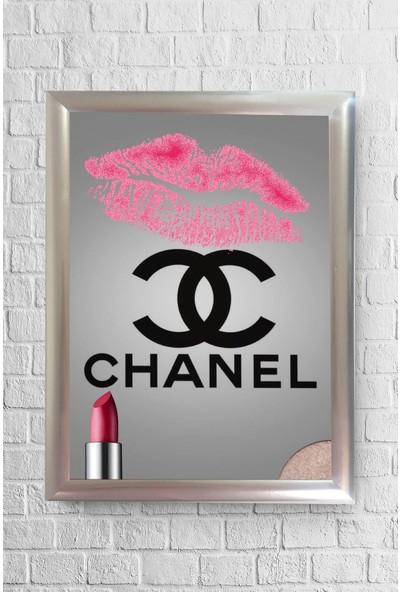 Lyn Home Chanel Pembe Ruj Çerçeveli Poster Tablo 23,5 x 33,5 cm