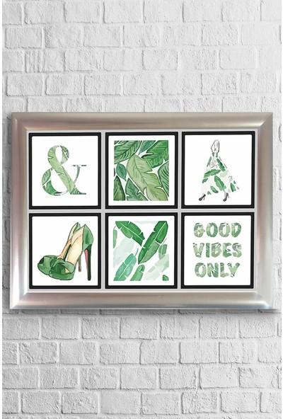 Lyn Home Yeşil Collage Çerçeveli Poster Tablo 23,5 x 33,5 cm