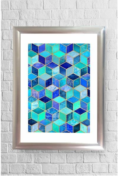 Lyn Home Mavi Çokgen Çerçeveli Poster Tablo 23,5 x 33,5 cm