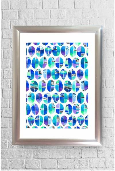 Lyn Home Mavi Yeşil Renk Geo Desen Çerçeveli Poster Tablo 23,5 x 33,5 cm