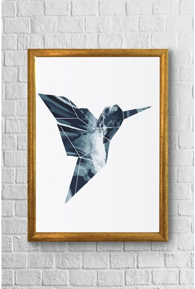 Lyn Home Origami Kuş Çerçeveli Poster Tablo 23,5 x 33,5 cm