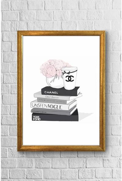 Lyn Home Siyah Kitaplar Chanel Çerçeveli Poster Tablo 23,5 x 33,5 cm