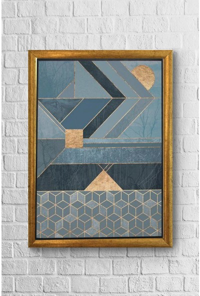 Lyn Home Geometrik Mavi Çerçeveli Poster Tablo 23,5 x 33,5 cm