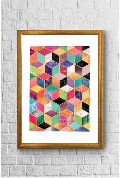 Lyn Home Renkli Geo Desenler Çerçeveli Poster Tablo 23,5 x 33,5 cm