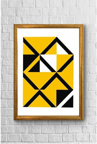 Lyn Home Sarı Siyah Çokgen Çerçeveli Poster Tablo 23,5 x 33,5 cm