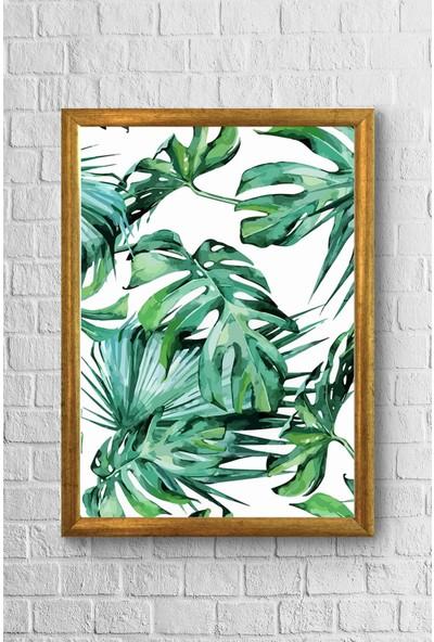 Lyn Home Geniş Yapraklar Çerçeveli Poster Tablo 23,5 x 33,5 cm