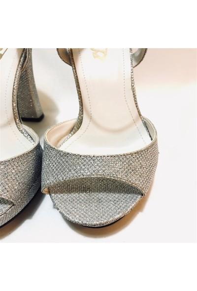 MİRANDA Gümüş Simli Topuklu Ayakkabı